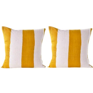 Yellow & White Striped Mud Cloth Pillow Covers - A Pair