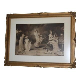 Antique Romantic Period Framed Sepia-Tone Print