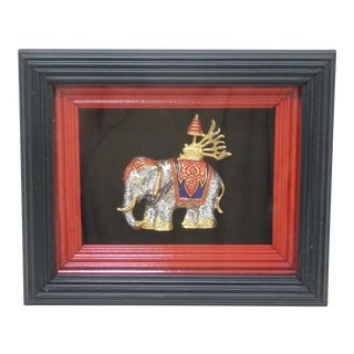 Framed Petite Thai Elephant Jeweled Figure