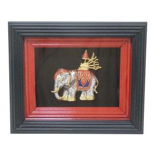 Framed Thai Elephant Figurine