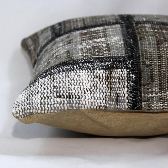 Turkish Handmade Gray Kilim Pillow - Image 5 of 5