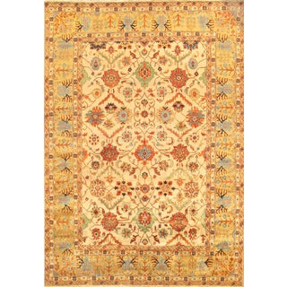 Mahal Ivory Hand-Knotted Wool Area Rug- 10' x 14'