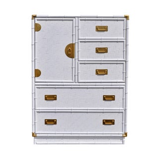Dixie Campaign White Faux Bamboo Highboy