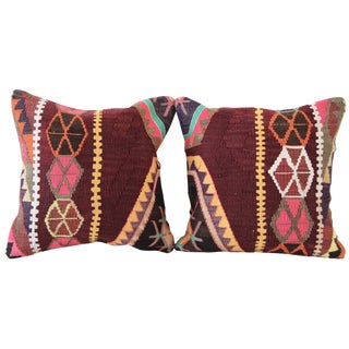 Burgundy Turkish Kilim Pillows - A Pair