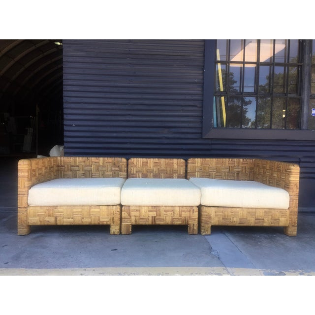 Vintage Woven Caning Sectional Sofa - Image 2 of 11