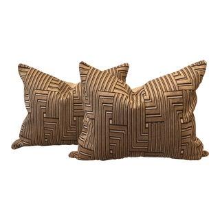 Modern Cut Velvet Pillows, Groundworks Louvered Maze - a Pair