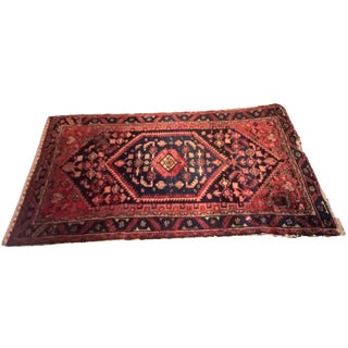 Indigo & Red Cotton Persian Rug - 3′10″ × 7′