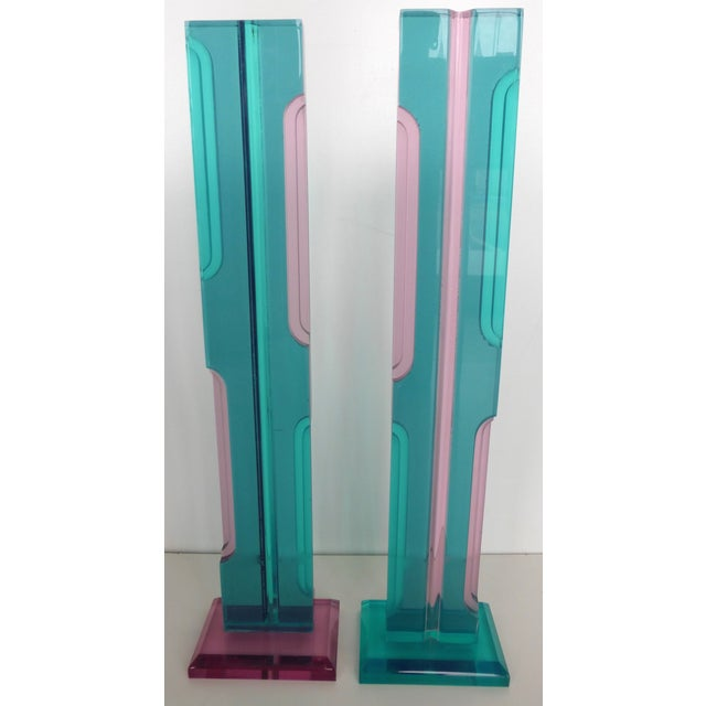 Mid Century Lucite Sculptures - Pair - Image 5 of 8