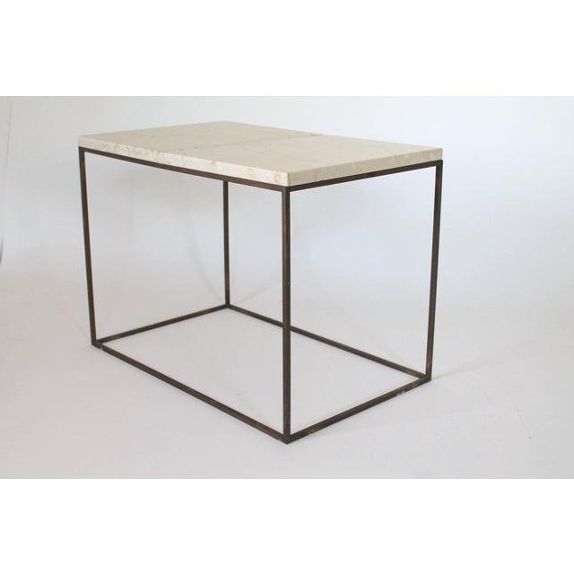 Rectangular Brass & Travertine Table - Image 2 of 11