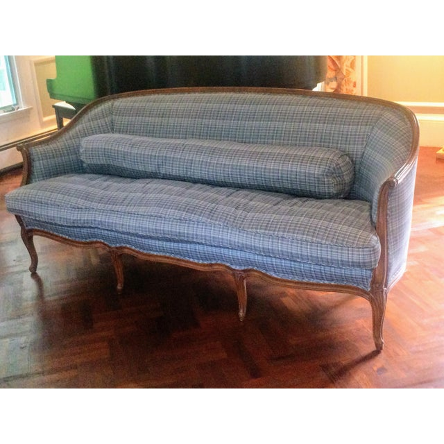 Vintage French Louis XV Style Wood Frame Sofa by Meyer Gunther Martini - Image 4 of 11
