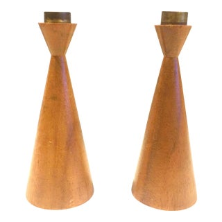 Danish Modern Wood Brass Candle Holders - A Pair