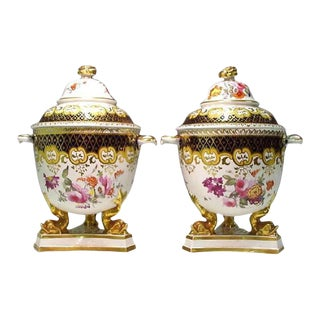 Regency Ridgway Porcelain Fruit Coolers, Covers & Liners - a Pair