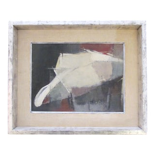 A moody American 1960's oil abstract painting of a man with hat; signed