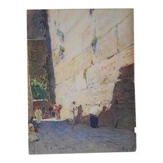 Vintage Lithograph, Jerusalem, Wailing Wall