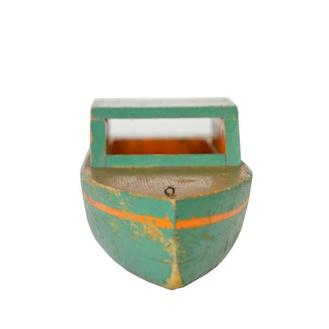 Image of Vintage Green Wooden Toy Boat
