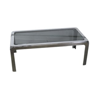 Exceptional Quality Mid-Century Modern Chrome & Smoked Glass Coffee Table