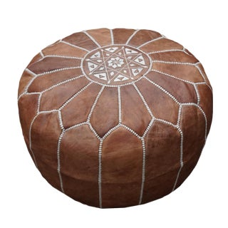 Dark Tan Moroccan Leather Pouf