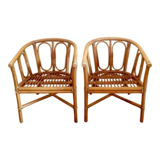 Mid-Century McGuire Rattan Lounge Chairs - A Pair