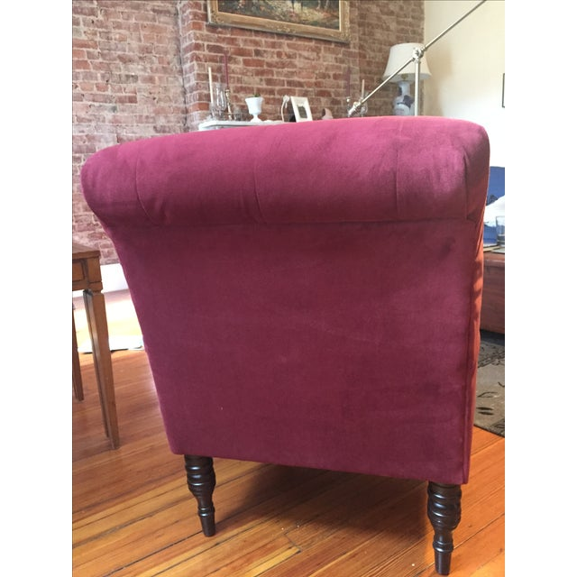 Burgundy Upholstered Chair - Image 4 of 5
