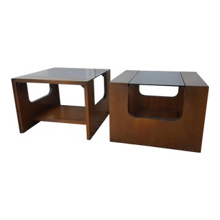 Lane Mid-Century Walnut End Tables - A Pair