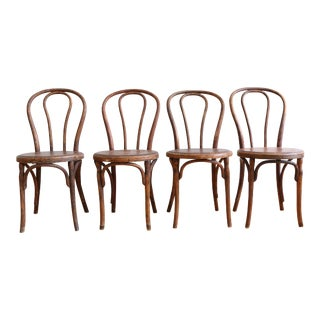 Antique English Style Bent Wood Chairs - Set of 4