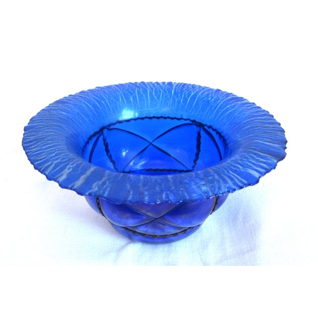 Image of Metal Caged Iridescent Blue Glass Bowl