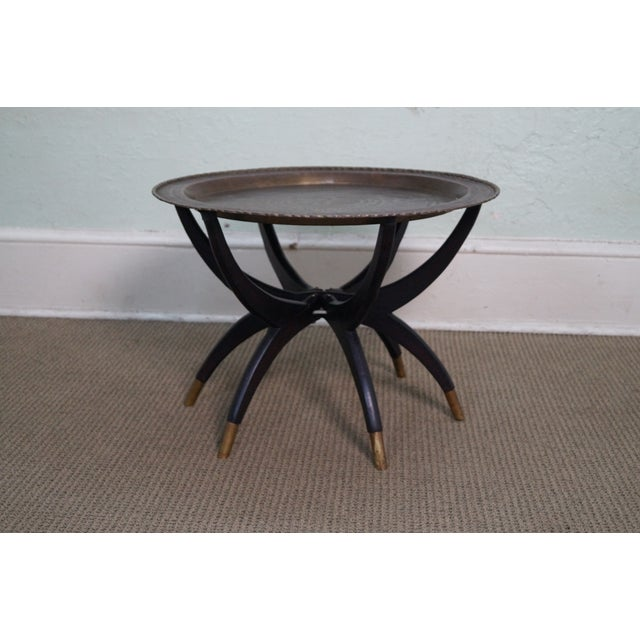 asian brass tray top folding coffee table chairish. Black Bedroom Furniture Sets. Home Design Ideas