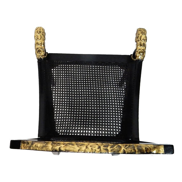 Antique Black & Gilt Wood Cane Seat Chair - Image 3 of 10