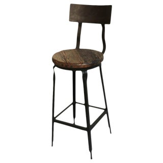 Reclaimed Wood and Iron Bar Stool