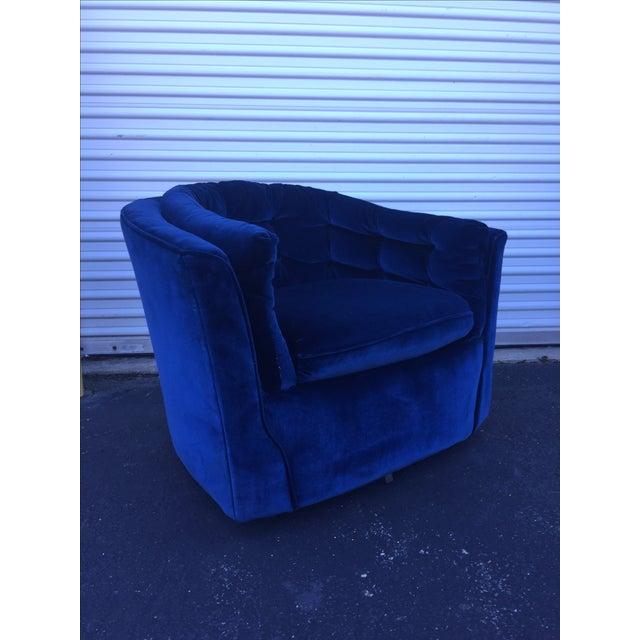 Blue Velvet Mid Century Modern Swivel Chair Chairish