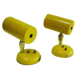 Mid-Century Yellow Enamel Task Lamps - A Pair