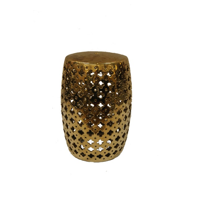 Brass Garden Stool With Quatrefoil Cutouts - Image 2 of 3