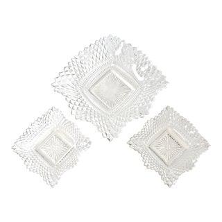 Diamond Cut Glass Bowls - Set of 3