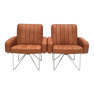 Chromed Steel Wire Base and Leather Easy Chairs Attributed to Hein Salomonson