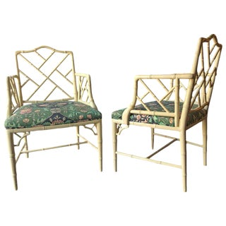 Hollywood Regency Bamboo Form Armchairs - A Pair