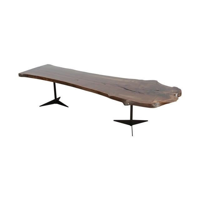 Image of Solid Walnut Wood Slab Coffee Table