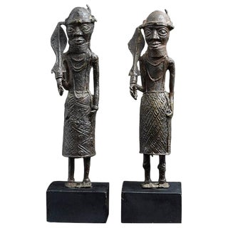 Pair of Benin Iron Warrior Statues