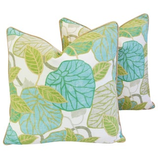 Custom Tailored Atrium Foliage Feather/Down Linen & Velvet Pillows - Pair