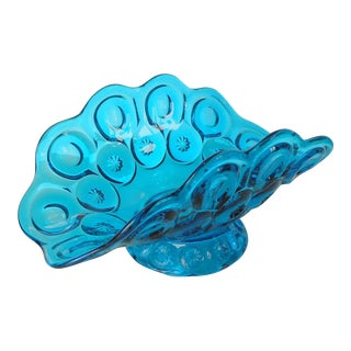Vintage Blue Glass Banana Boat Centerpiece Bowl