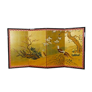 Japanese 4 Panel Screen With Pheasants, Cherry Blossoms and Prunus
