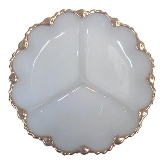 Gilded Milk Glass Divided Serving Tray