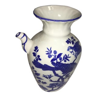 Blue & White Bird Decor Porcelain Urn
