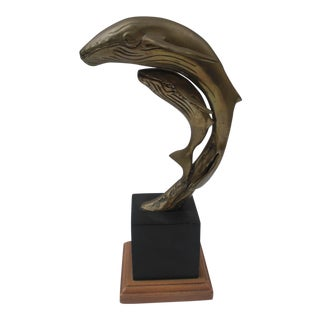 Brass & Black Base Whale and Calf Sculpture