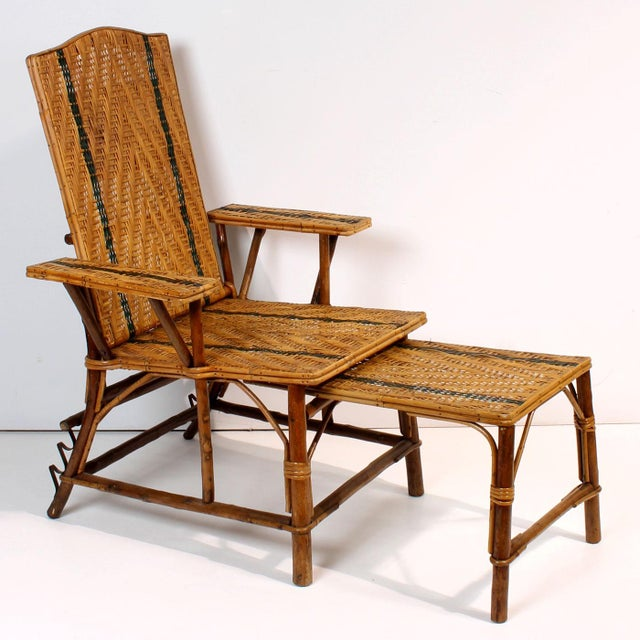 Vintage French Rattan Chaise Lounge & Footrest - Image 2 of 10