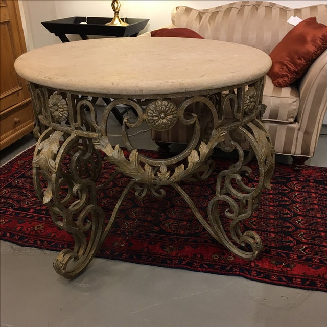 Travertine Top & Gilded Cast Metal Foyer Table - Image 3 of 8