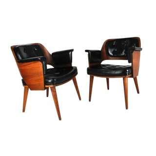 Mid-Century Danish Leather & Walnut Club Chairs - A Pair