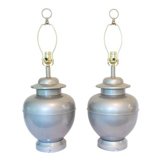 Vintage Silver Painted Ginger Jar Lamps - A Pair