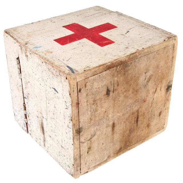 Image of Vintage French Wood First Aid Box