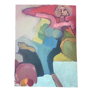 """Vintage Beth Moskowitz """"Woman"""" Oil on Canvas Painting"""