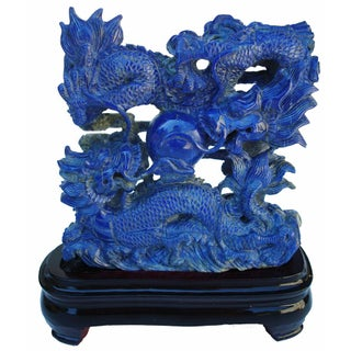 3-D Carved Lapis Asian Dragons Statue
